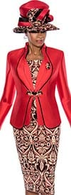 Terramina 7638 Womens Intricate Pattern Print Skirt Suit With Solid Jacket