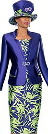 Terramina 7639 Womens Skirt Suit With Star Collar Jacket & Abstract Print