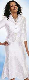 Terramina 7528-White Embroidered Skirt Suit With Floral Design