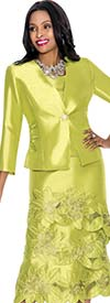 Terramina 7529-Lime Embroidered Skirt Suit With Floral Design
