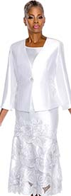 Terramina 7529-White Embroidered Skirt Suit With Floral Design