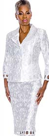 Terramina 7584-White Embroidered Skirt Suit For Women
