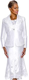 Terramina 7585-White Butterfly Design Embroidered Skirt Suit