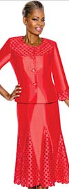 Terramina 7587-Red Cutout Design Godet Skirt Suit