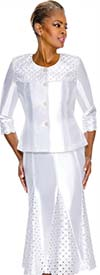 Terramina 7587-White Cutout Design Godet Skirt Suit