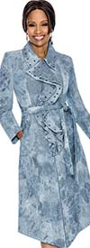 Terramina 7588 Blue Denim Dress With Grommet Design