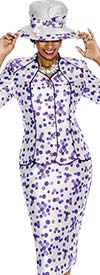 Terramina 7593 Womens Polka-Dot Print Skirt Suit