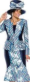 Terramina 7594 Womens Stripe & Floral Print Skirt Suit