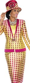 Terramina 7596 Womens Polka Dot  Print Skirt Suit