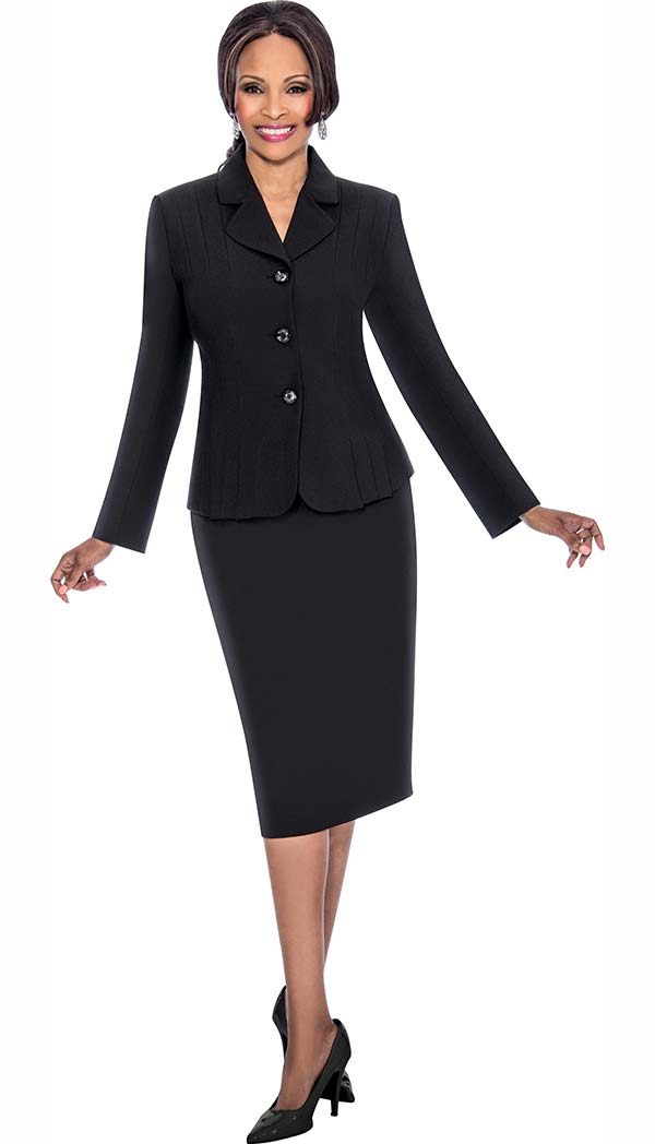 Terramina 7468-Black - Skirt Suit With Pleated Accent Notch Lapel Jacket