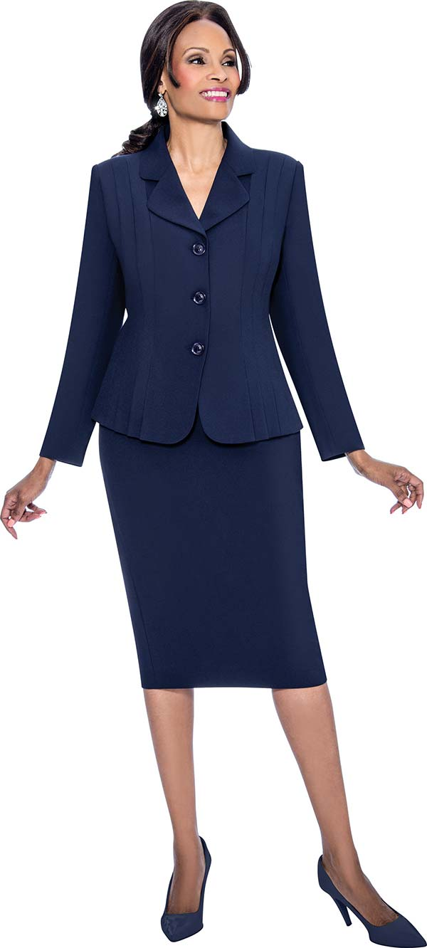Terramina 7468-Navy - Skirt Suit With Pleated Accent Notch Lapel Jacket