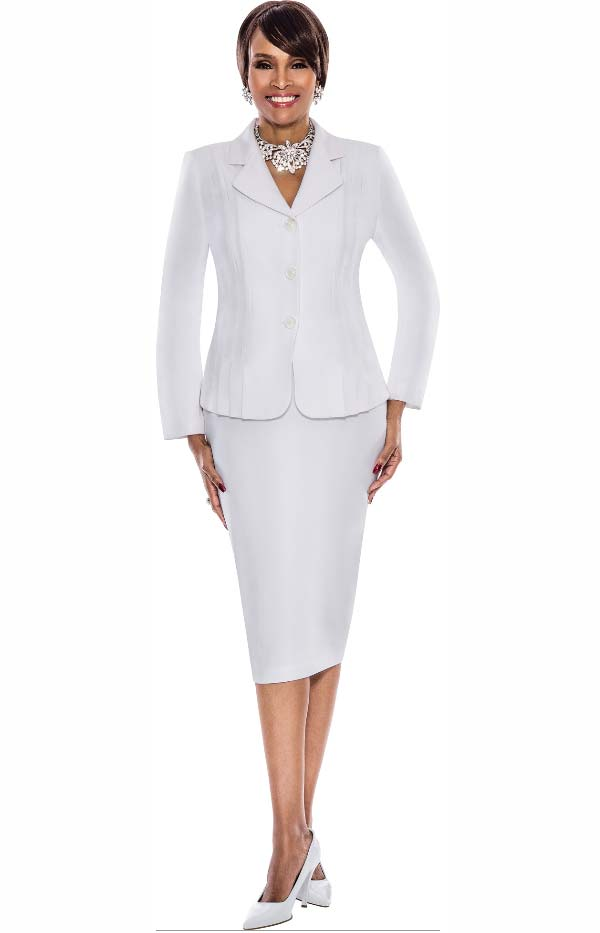 Terramina 7468-White - Skirt Suit With Pleated Accent Notch Lapel Jacket