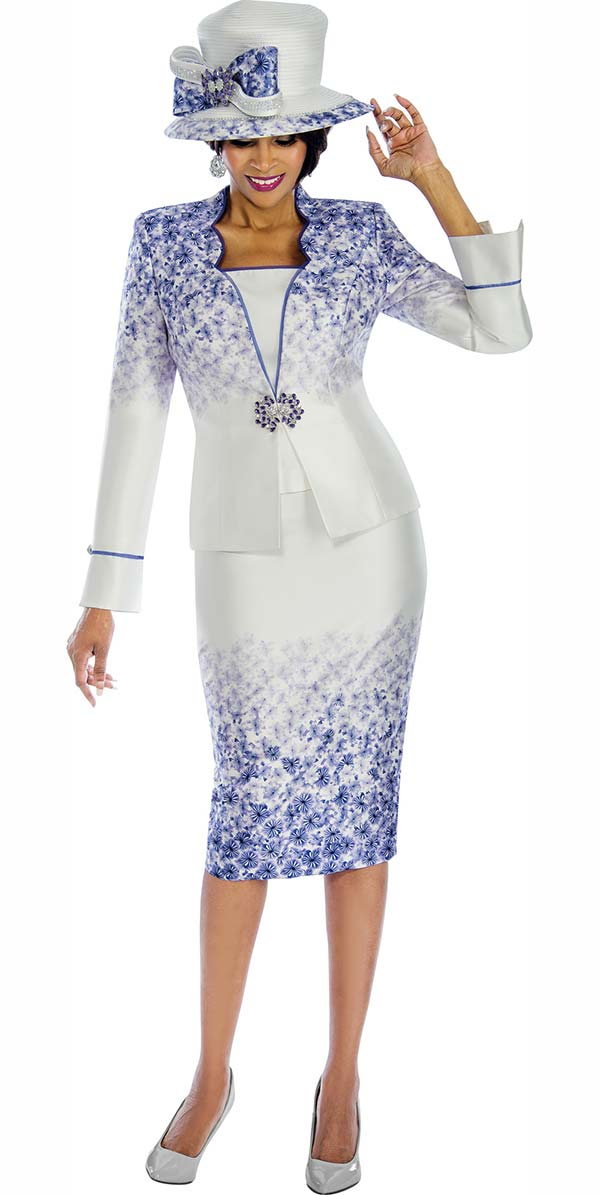 Terramina 7595 Skirt Suit With Gradient Floral Print & Star Neckline Jacket