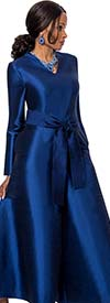 Terramina 7620-Blue -  Vee Neckline Womens Jump Suit With Sash