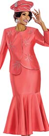 Terramina 7633-Papaya - Skirt Suit With Flounce Hem & Asymmetric Style Jacket