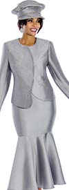 Terramina 7633-Silver - Skirt Suit With Flounce Hem & Asymmetric Style Jacket