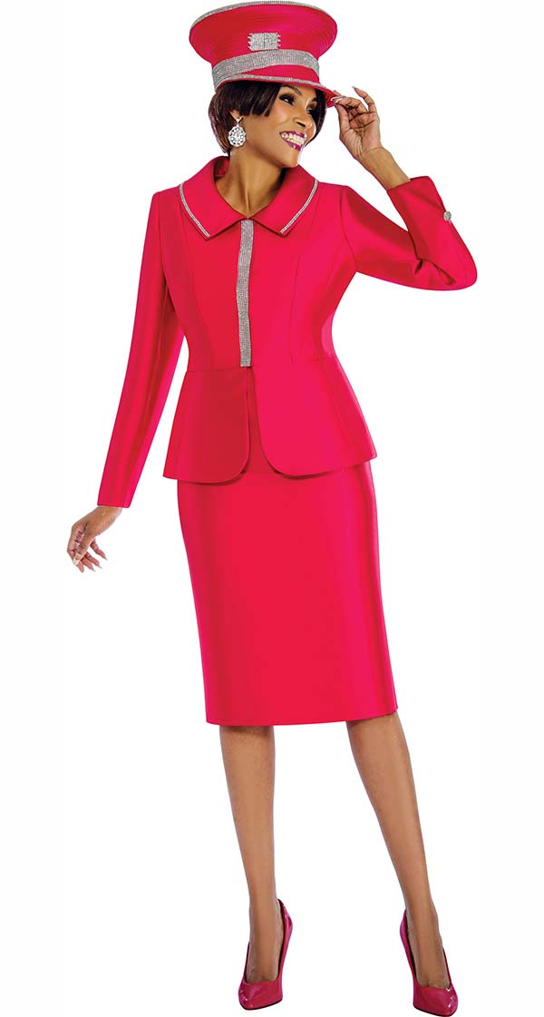 Terramina 7651-Pink - Womens Skirt Suit With Embellished Jacket