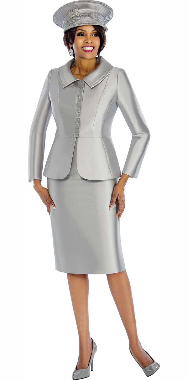 Terramina 7651-Silver - Womens Skirt Suit With Embellished Jacket