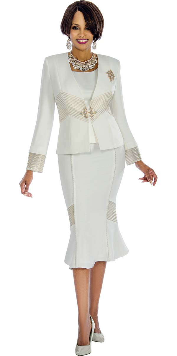 Terramina 7653 Womens Flared Skirt Suit With Gold Stripe Accents