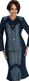 Terramina 7663 Womens Flared Skirt Suit With Denim Fabric
