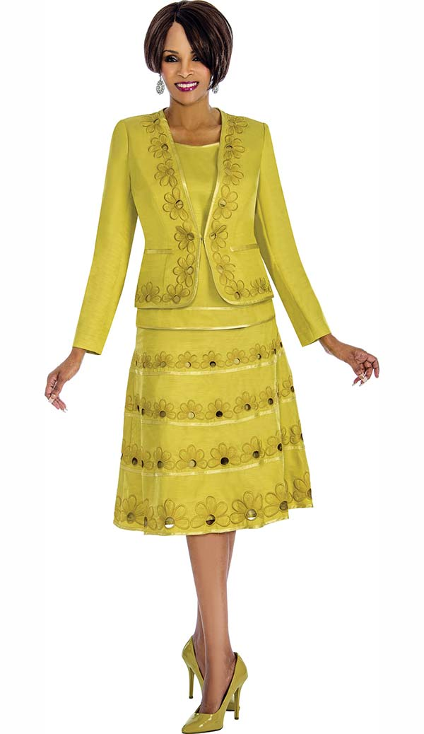 Terramina 7671-Citron - Skirt Suit With Floral Embroidered Accents