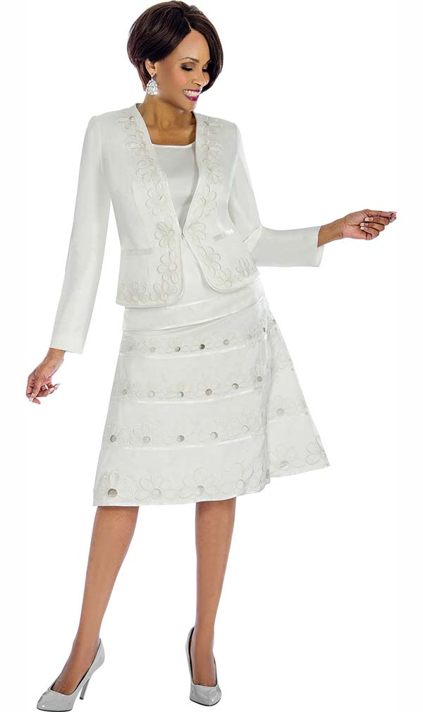 Terramina 7671-White - Skirt Suit With Floral Embroidered Accents