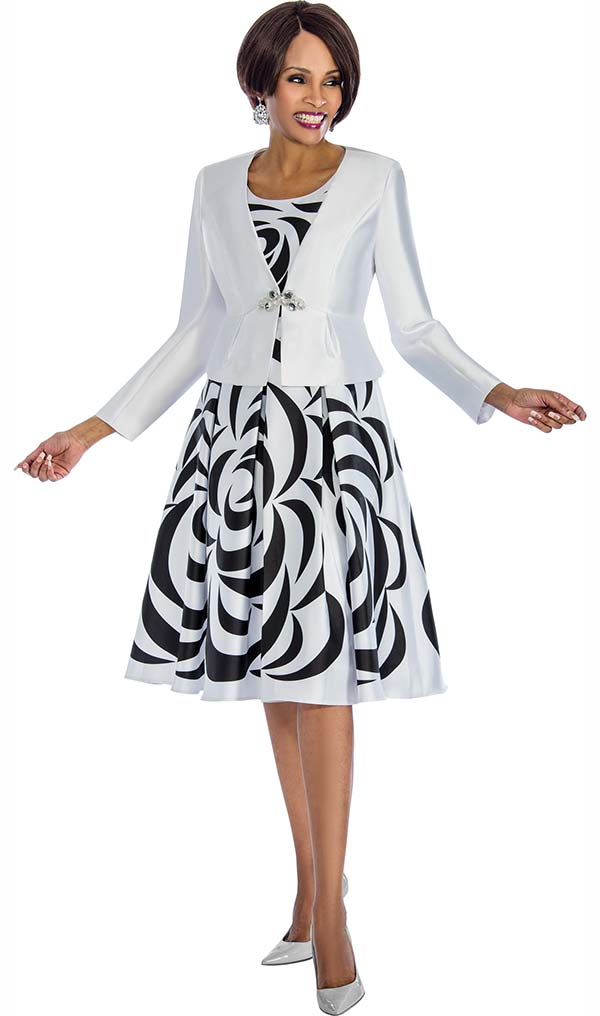 Terramina 7672-White - Printed Pleated A-Line Dress With Solid Jacket