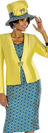 Terramina 7674 Three Piece Skirt Suit With Octagonal Print Pattern
