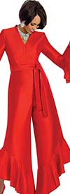 Terramina 7675-Red -  Vee Neckline Flounce Hem Womens Jump Suit With Sash