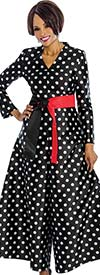 Terramina 7676 Polka Dot Print Womens Jumpsuit With Sash