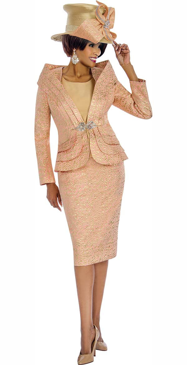 Terramina 7677 Printed Texture Pattern Skirt Suit With Off Shoulder Portrait Style Collar