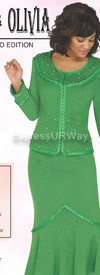 Womens Knit Suits Todd and Olivia TD94042 Emerald