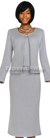 Womens Knit Suits Todd and Olivia TD94373 - Silver