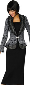 Womens Knit Suits Todd and Olivia TDC94333 - Black / White