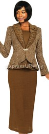 Womens Knit Suits Todd and Olivia TDC94333 - Brown / Champagne