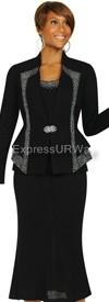 Womens Knit Suits Todd and Olivia TDC94363 - Black