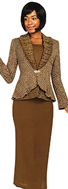 Womens Knit Suits Todd and Olivia TDC94333-Brown