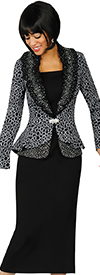 Clearance Womens Knit Suits Todd and Olivia TDC94333-BlackWhite