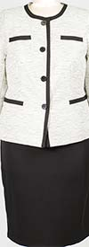 DAN-380489W - Womens Two Piece Suit With Contrasting Trim Jacket
