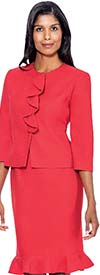 DVI-1224 / DVI-1224W-Red - Womens Two Piece Suit With Flare Skirt