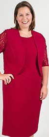 MAY-27153-Red - Womens Two Piece Lace Sleeve Jacket Dress