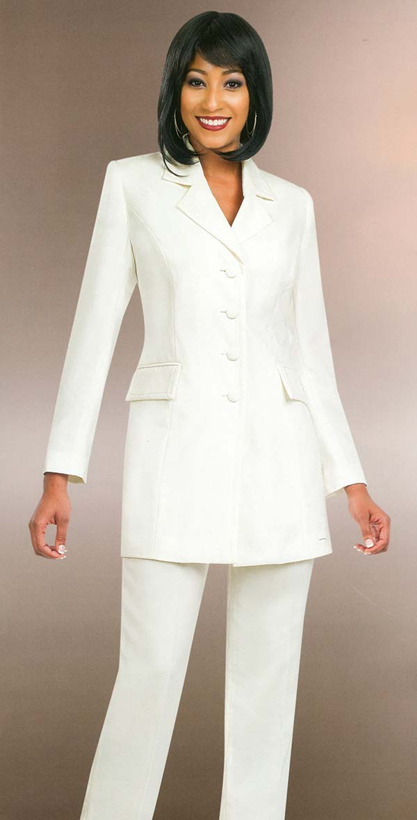 Ben Marc Executive 10496-Off White - Womens Pant Suit Business Uniform
