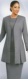 Ben Marc 2296-Silver - Womens Suit With Vented Jacket