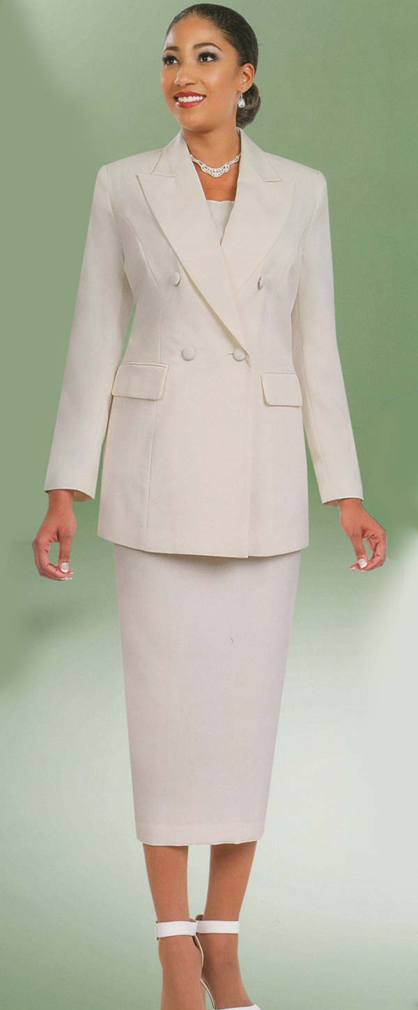 Ben Marc 2298-Ivory - Womens Double Breasted Skirt Suit