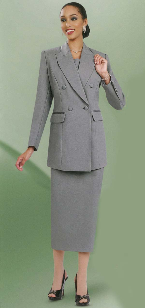 Ben Marc 2298-Silver - Ladies Double Breasted Skirt Suit