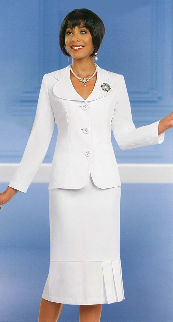 Ben Marc 78095-Off White - Modern Usher Suit For Women With Clover Lapels
