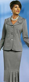 Ben Marc 78095-Silver - Modern Usher Suit For Women With Clover Lapels