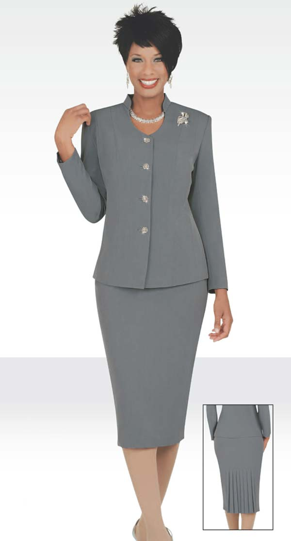 Ben Marc 78096-Silver - Two Piece Modern Usher Suit For Women