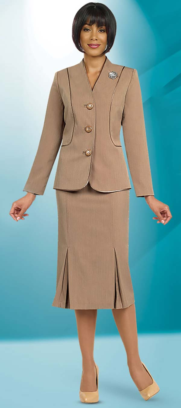 Ben Marc 78098-Taupe - Modern Usher Suit For Women With Godet Skirt