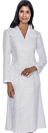 GMI G11871-White - Printed One Piece Church Dress With Wing Collar